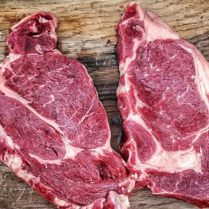 A Pair of Organic Grass Fed Rib Eye Steaks