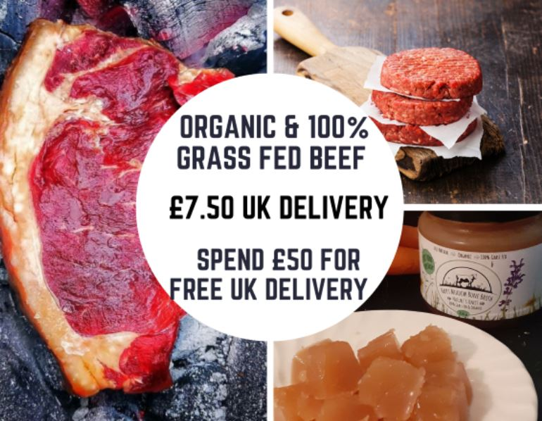 Organic and 100% Grass Fed Beef – FREE UK DELIVERY OVER £50